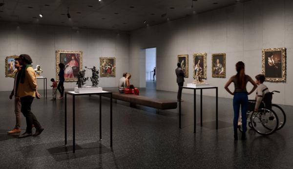Rendering of gallery interior with visitors viewing European painting and sculpture