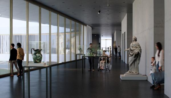 Rendering of gallery, one side of which is floor-to-ceiling glass, with vessels in vitrines and a sculpture of a woman with visitors
