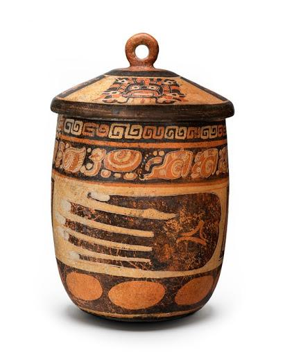 Lidded Vessel with Images of an Open Hand, Maya, 580–700