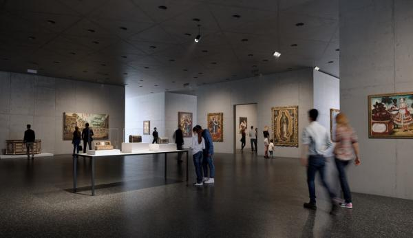 Interior of gallery with people