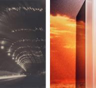 Left: Shinsaku Izumi, Tunnel of Night, 1931; Right: Anthony Lepore, Sunrise from the series New Wilderness, 2010