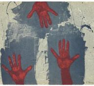 Rufino Tamayo, Hands on Blue Background (Manos sobre fondo azul), 1979