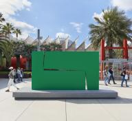 Large green metal sculpture in LACMA's Smidt Welcome Plaza
