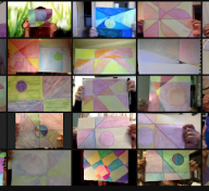 Teachers hold up artworks they created in the Virtual Evenings for Educators workshop Colors and Feelings, led by teaching artist Peggy Hasegawa on October 22.