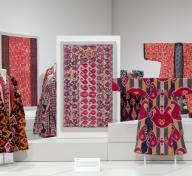 Installation photograph, Power of Pattern: Central Asian Ikats from the David and Elizabeth Reisbord Collection