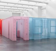 Replica of artist Do Ho Suh's New York residence created out of translucent polyester, supported by stainless steel