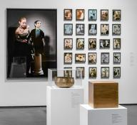 Installation photograph showing gallery view of the exhibition NOT I: Throwing Voices (1500 BCE–2020 CE)