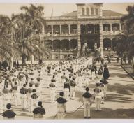 Queen Liliʻuokalani's funeral procession outside ʻIolani Palace, United States, Hawaiʻi, November 18, 1917