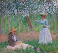 Claude Monet, In the Woods at Giverny: Blanche Hoschedé at Her Easel with Suzanne Hoschedé Reading, 1887
