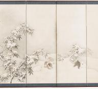 Maruyama Ōkyo, Puppies among Bamboo in Snow, 1784