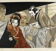Figures in traditional Japanese dress with puppets
