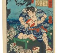 Tsukioka Yoshitoshi, Shirafuji Genta Watching Kappa Wrestle, 1865, 2nd month