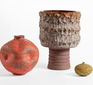 Doyle Lane, (left to right) Vase, c. 1965, Vessel, c. 1969, and Vase, c. 1967, largest: 10 3/8 × 7 1/2 (diameter) in., Los Angeles County Museum of Art, gift of the 2018 Decorative Arts and Design Acquisition Committee (DA²), photo © Museum Associates/LACMA