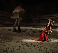 Woman in red dress sitting in chair wearing a crown of mushrooms, giant mushrooms in the room to the left of her