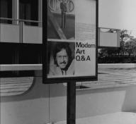 Signage on LACMA's campus announcing Q&A series with curator Maurice Tuchman, June 30, 1974, photo © Museum Associates/LACMA