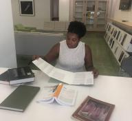 2018–20 Andrew W. Mellon Undergraduate Curatorial Fellow Jabrea Patterson-West engaged in archival research in LACMA's Balch Art Research Library, 2019