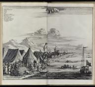 """Johan Nieuhof, Parel Vissery voor toute Couryn"""" (Pearl fishing before Tuticorin) in Gedenkweerdige Brasiliaense Zee en Lantreize, published by Jacob van Meurs, Amsterdam, 1682"""