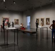 Visitors in a gallery with European painting and sculptures