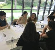 Danielle Pesqueira (advisor) with 2019 Mellon Summer Academy students: Vivian Change, Carolina Benitez, Brent Fong, Ariana Robles and Jackeline Lopez