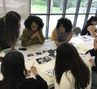 2019 Mellon Summer Academy students: Helen Pinto, Sajdah Nasir, Jennifer Cernada (advisor), Miranda Claxton, Mia Harder, and Jennifer Payan working on their exhibition idea
