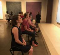Participants during Mindful Monday, in the exhibition Unexpected Light: Works by Young-Il Ahn