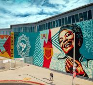 Mural by Shepard Fairey, photo by Jon Furlong for @obeygiant