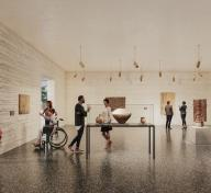 Interior gallery rendering with visitors viewing art