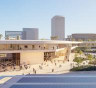 Rendering of exterior view of building, with people in the plaza