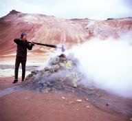 Curtis Tamm recording a fumarole in East Iceland for The Viscous Shape; photograph by collaborator Hemione Spriggs, 2016